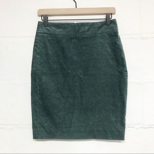 J Crew The Pencil Skirt in Corduroy Green 00